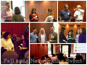 A collage of photos from the Fall 2014 networking event focused on implementation science.
