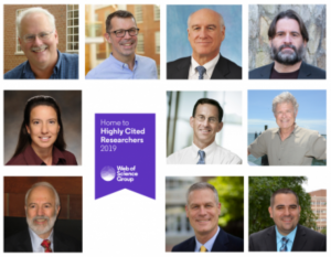 Headshots of Gillings faculty members named Highly Cited Researchers (FROM LEFT TO RIGHT TOP: DR. RALPH BARIC, DR. NOEL BREWER, DR. MYRON COHEN, DR. STEPHEN COLE MIDDLE: DR. KELLY EVENSON, DR. DAVID MARGOLIS, DR. HANS PAERL BOTTOM: DR. BARRY POPKIN, DR. KURT RIBISL, DR. JASON SURRATT)