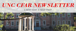 UNC CFAR Newsletter Header text over image of Old Well